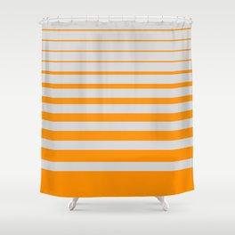 Orange digital horizons Shower Curtain