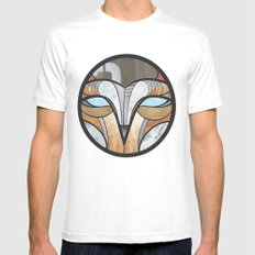 owl face Mens Fitted Tee White MEDIUM