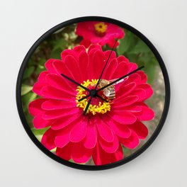 Scarlet Zinnia flower and Bee Wall Clock