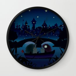 Hedgehogs in the night Wall Clock