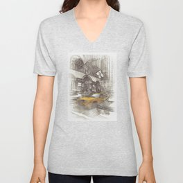 NYC Yellow Cabs Avenue - SKETCH Unisex V-Neck