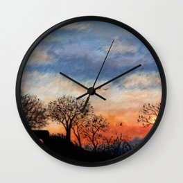 Winter Silhouette Sunset Wall Clock