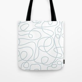 Silvery Blue Doodled Lines Pattern on White Tote Bag
