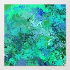 Blue Green Fractured Paint Swirls Canvas Print
