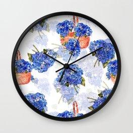 Cape Cod Hydrangeas and Baskets Wall Clock