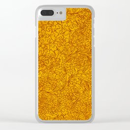 Vintage Red Yellow Floral Ornament Clear iPhone Case