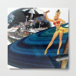 Dancer on Saturn Rings Metal Print