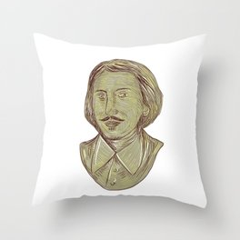 Christopher Marlowe Bust Drawing Throw Pillow