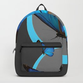 NEON BLUE BUTTERFLIES  & CHARCOAL GREY PATTERN Backpack
