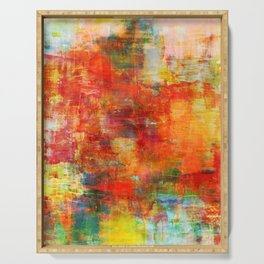 AUTUMN HARVEST - Fall Colorful Abstract Textural Painting Warm Red Orange Yellow Green Thanksgiving Serving Tray