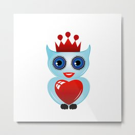 Friendly owl with red crown and heart Metal Print