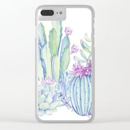 Mixed Cacti White #society6 #buyart Clear iPhone Case