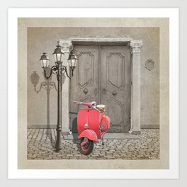 Nostalgia pink scooter Art Print