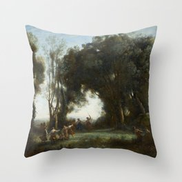"""Jean-Baptiste-Camille Corot """"A Morning. The Dance of the Nymphs"""" Throw Pillow"""