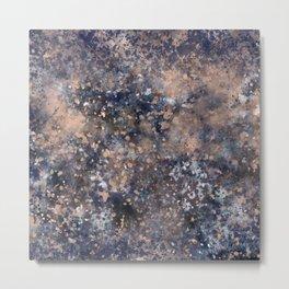 Blue & Rose Gold Splatter Metal Print