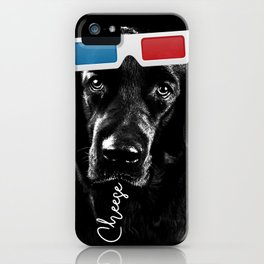 Black Labrador Retriever Dog with a sad face 3D glasses saying cheese iPhone Case