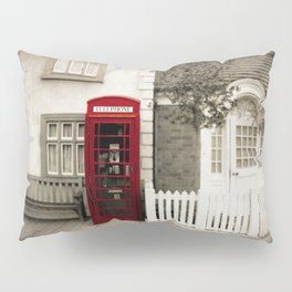 Red Telephone Booth Sepia Spot Color Photography Pillow Sham