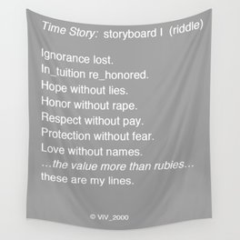 Time Story:  Storyboard I (riddle) Wall Tapestry