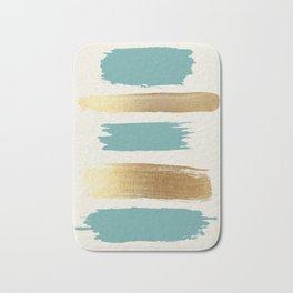 Brush Strokes (Teal/Gold) Bath Mat