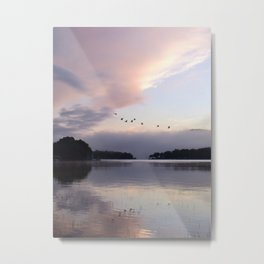 Uplifting III: Geese Rise at Dawn on Lake George Metal Print
