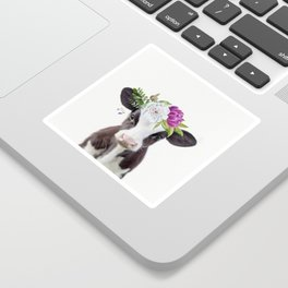Baby Cow with Flower Crown Sticker