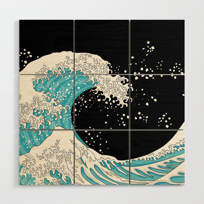 The Great Wave (night version) Wood Wall Art