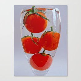 Tomatos in a glass of water Canvas Print