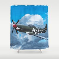 milwaukee Shower Curtains featuring P51 Mustang- Milwaukee style by Hatton Custom Design