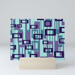 Geometric rectangles pattern violet Mini Art Print