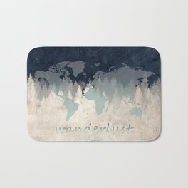 world map wanderlust forest 2 Bath Mat