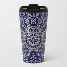 Moroccan Mandala – Gold Ink on Navy Travel Mug