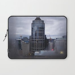 Seattle Skyline and Space Needle on a Cloudy Day Laptop Sleeve