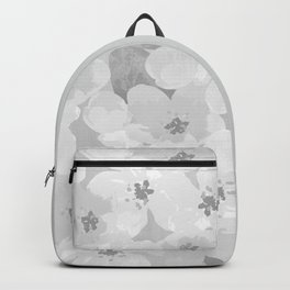 grayscale floral pattern Backpack
