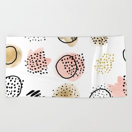Mid Century Modern Abstract Blush and Gold Pattern I Beach Towel