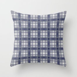 Navy Blue and Gray Plaid Throw Pillow