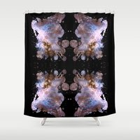 cosmos Shower Curtains featuring Cosmos by Spooky Dooky