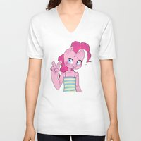 mlp V-neck T-shirts featuring Pinkie Pie Anthro Peace Sign MLP by oouichi
