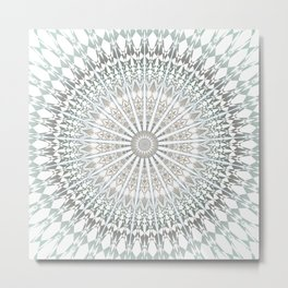 Mint White Mandala Metal Print