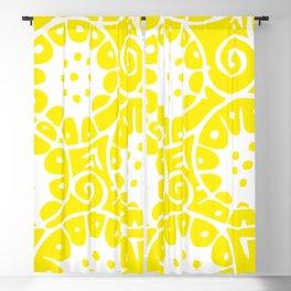 Lemon Swirl Pattern   Swirl Pattern   Abstract Patterns   Yellow and White   Blackout Curtain