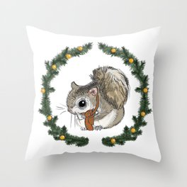 Siberian Squirrel in Holiday Wreath Throw Pillow