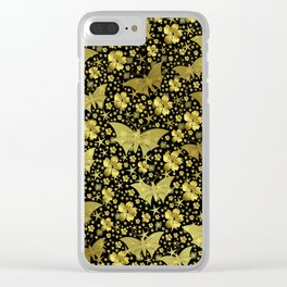 gold, golden, flowers, stars, butterfly, pattern, bright, shiny, elegant, color Clear iPhone Case