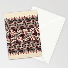 Ivory Folk Pattern Stationery Cards