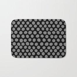 Gray Polka Dots on Black Pattern Bath Mat