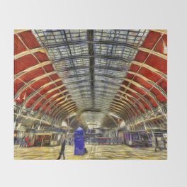 Paddington Railway Station Art Throw Blanket