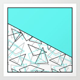 Abstract turquoise combo pattern . Art Print