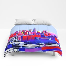 Manhattan Mondrian Mosaic in blue and pink Comforters