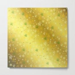 gold Merry christmas text in gold, beautiful reindeer, green fir trees, bright stars festive Metal Print