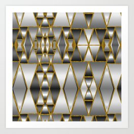 Gray Ombre Abstract Geometry Art Print