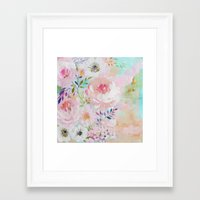 craftberrybush Framed Art Prints featuring Acrylic rose garden  by craftberrybush