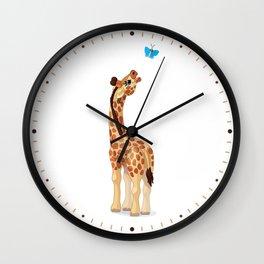 Cute little giraffe. Vector graphic character Wall Clock